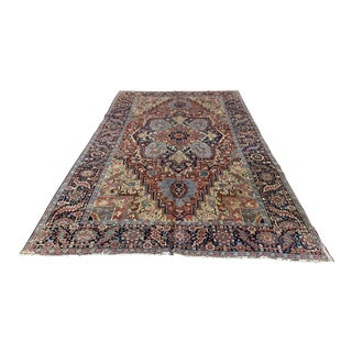 Early 20th Century Antique Persian Heriz/Sarapi Rug - 7′3″ × 11′2″ For Sale
