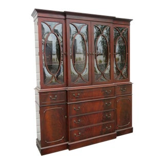 Flame Mahogany Two Part China Display Cabinet Cupboard For Sale