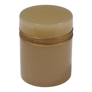 An Elegant French Ecru-Colored Opaline Bijouterie/Trinket Jar With Gilt-Bronze Mounts For Sale