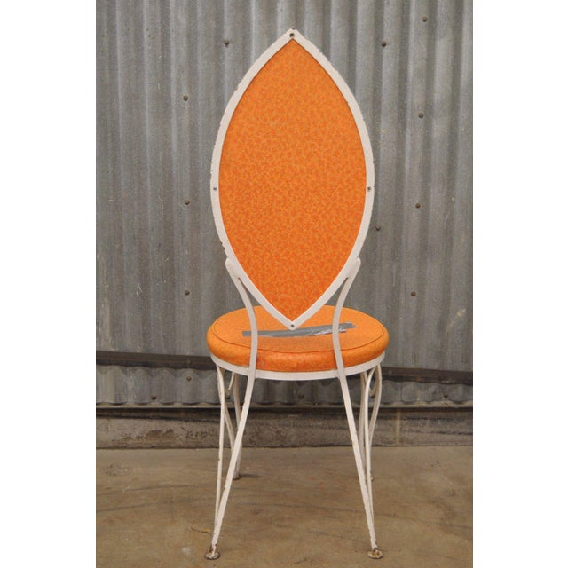 Vintage Wrought Iron Patio Side Chair For Sale - Image 4 of 9
