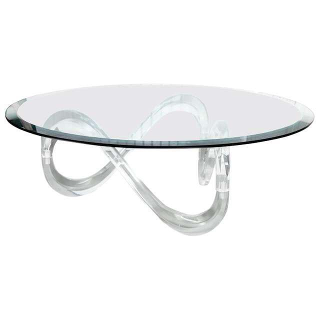 Transparent Late 20th Century Vintage Glass Coffee Table For Sale - Image 8 of 8