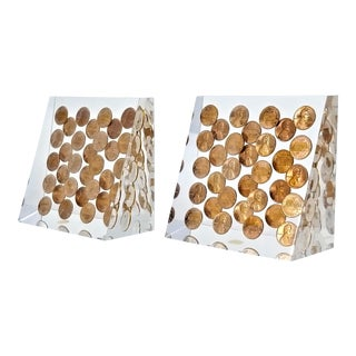 Pop Art Lucite Bookends 1975 Pennies - a Pair - New Old Stock - Both Signed - Made by Goldfeder For Sale