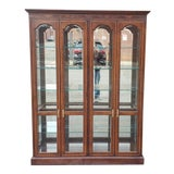 Image of Drexel Heritage 4 Door Mahogany Living Room Lighted Curio Cabinet For Sale