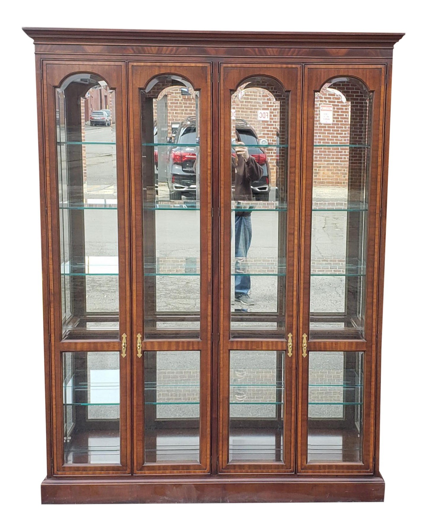 Drexel Heritage 4 Door Mahogany Living Room Lighted Curio Cabinet For Sale