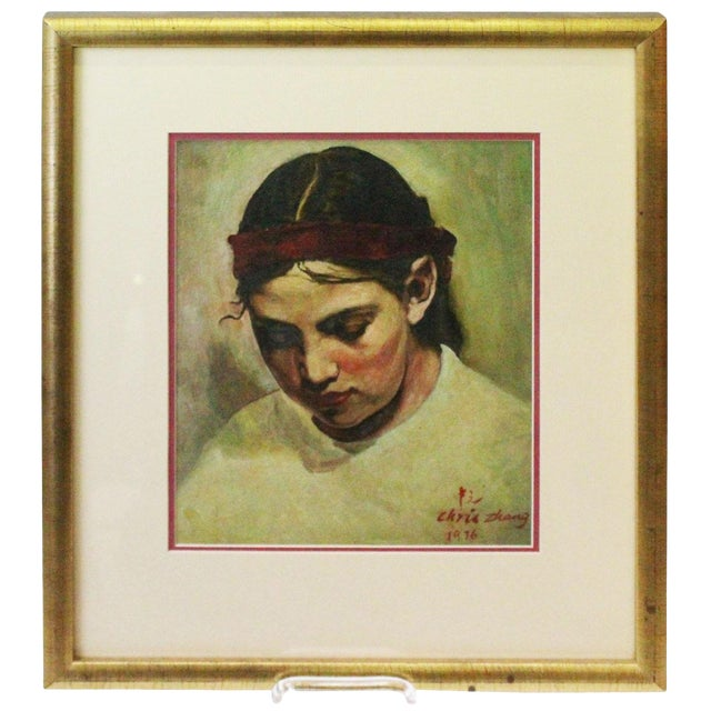 1970s Vintage Christopher Zhang Mimi With Red Ribbon Painting For Sale