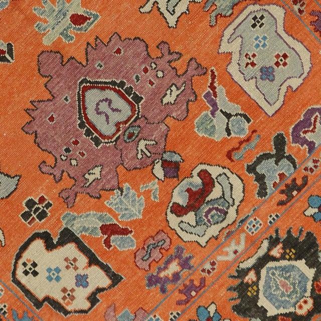 Contemporary Turkish Modern Style Orange Oushak Rug - 9′9″ × 12′2″ - Image 4 of 5