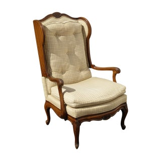 French Provincial Carved Tufted Wingback Chair