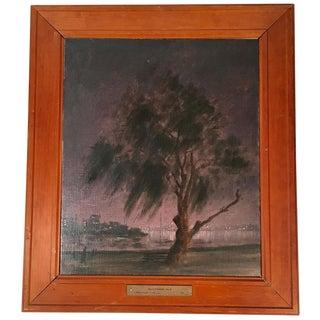 1940s Vintage Hayward Veal Melbourne Australia Nocturne Painting For Sale