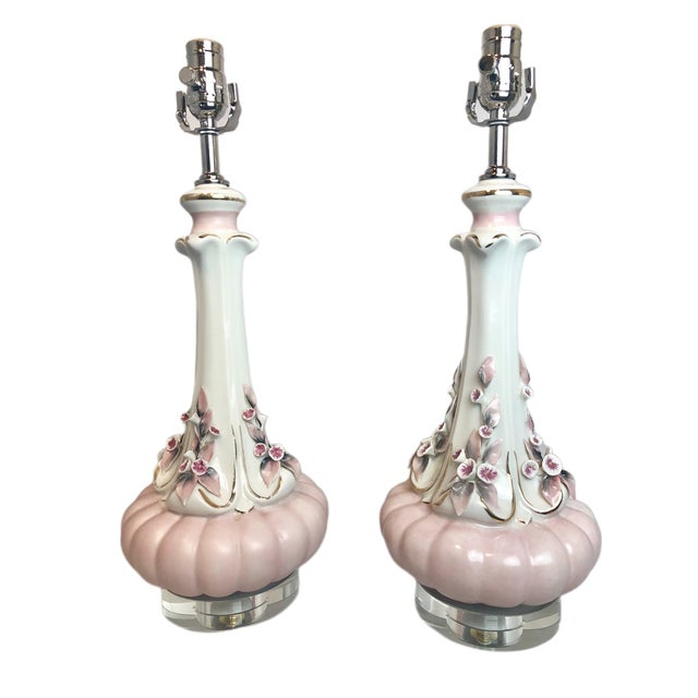 1950s Vintage Pink Floral Italian Porcelain Table Lamps - a Pair For Sale - Image 9 of 9