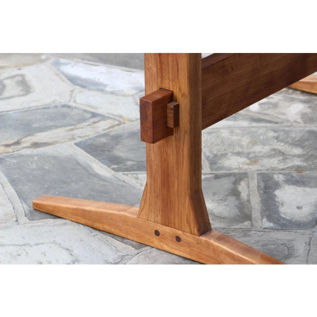 American Rustic Solid Wood Knockdown Farmhouse/Trestle Table in Walnut Stain For Sale - Image 3 of 5
