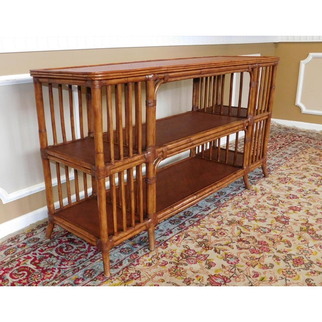 Brown Ethan Allen Rattan Media Console Sofa Table For Sale - Image 8 of 9