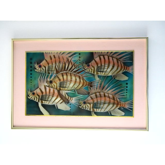 1975 Lion Fish Aluminum Etched and Airbrushed Painting by Tom Gall For Sale - Image 9 of 9