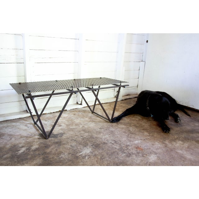 Artisan Made Perforated Metal Modernist Coffee Table Bed Entry Bench Tv Media Stand For Sale - Image 9 of 10