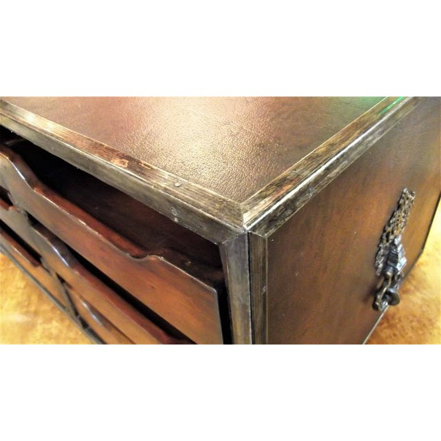 Theodore Alexander Theodore Alexander Mahogany & Leather Desk Organizer For Sale - Image 4 of 7