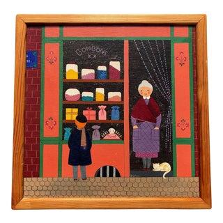 Mid-Century Painting - La Marchande De Bonbons by Dominique LeFranc 1979 For Sale