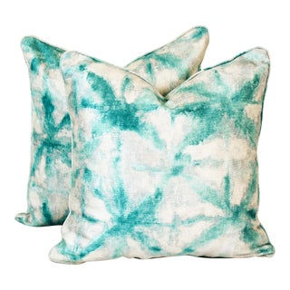 Square Turquoise Pillows, Abstract Pattern Pillows, Chenille Pillows For Sale