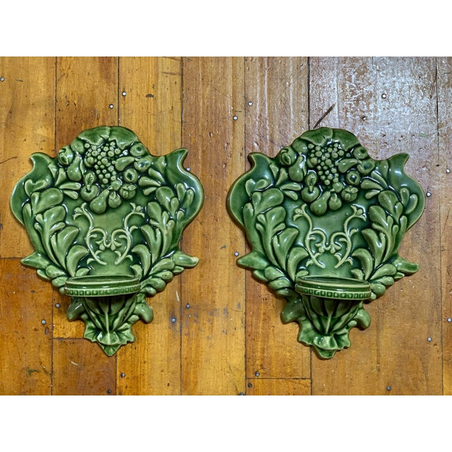 Green Majolica Fruit Wall Pockets - a Pair For Sale - Image 13 of 13