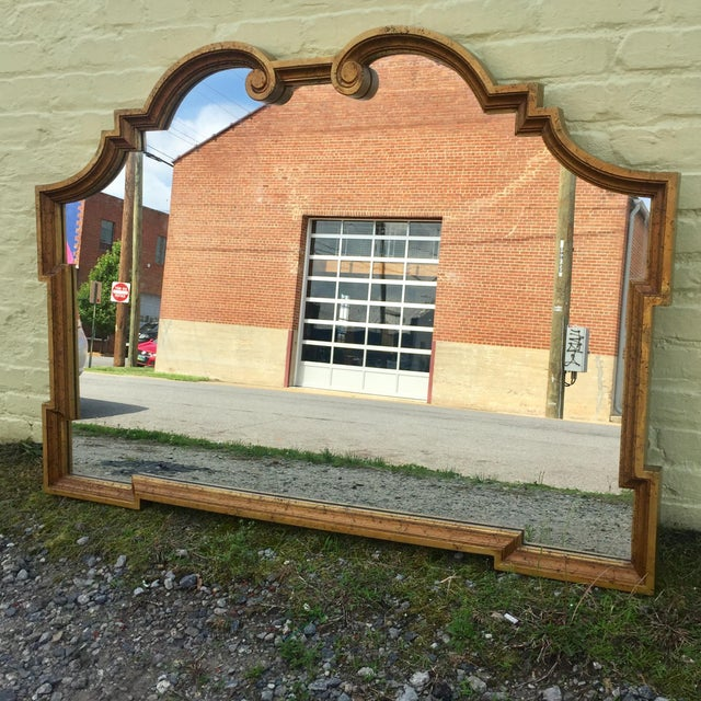 Mid 20th Century Wide Labarge Style Gold Hollywood Regency Mirror For Sale - Image 5 of 12