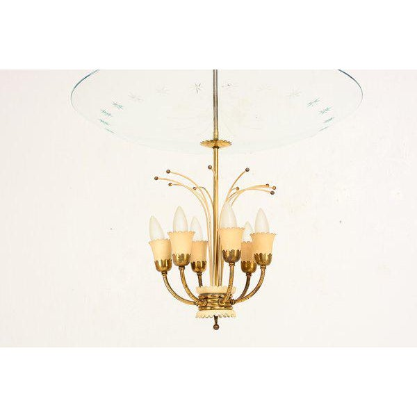 Metal Italian Chandelier After Fontana Arte For Sale - Image 7 of 9