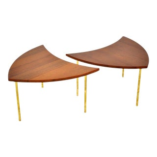 Peter Hvidt Teak and Brass Side Tables - a Pair For Sale