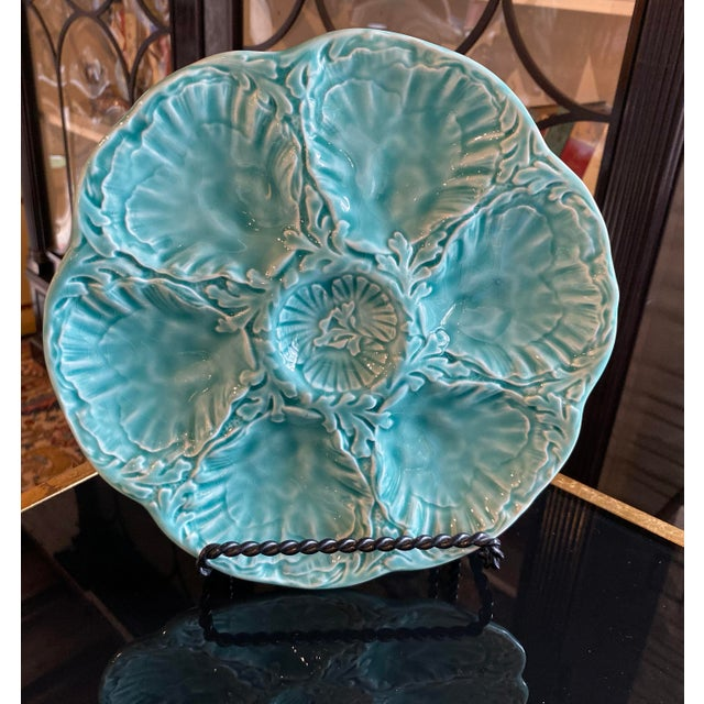 French Turquoise Oyster Plate Two Available Made by the famous Faience designers Gien in the Loire Valley, France. The...