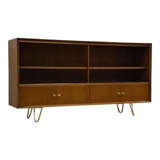 Paul McCobb Mahogany Brass Bookcase For Sale