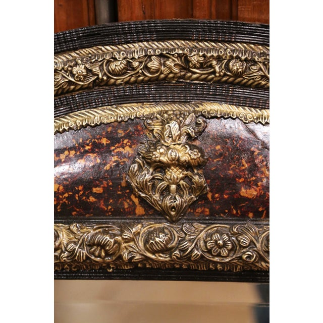 Metal 19th Century French Napoleon III Repousse Brass and Ebony Overlay Wall Mirror For Sale - Image 7 of 11