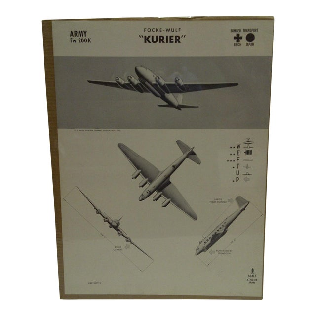 WWII Focke Wulf Kurier Aircraft Recognition Poster For Sale