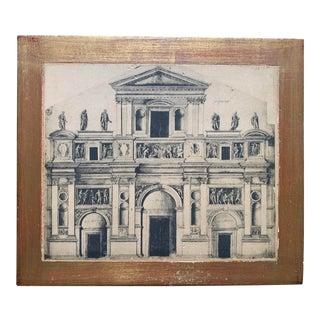 Vintage Italian Architecture Print For Sale