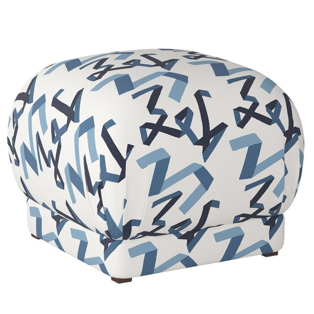 Ottoman in Navy Ribbon by Angela Chrusciaki Blehm for Chairish For Sale