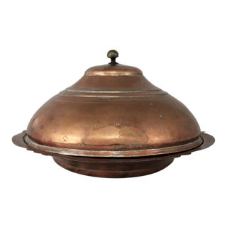 Antique Turkish Ottoman Large Lidded Copper Bowl Hand Forged For Sale
