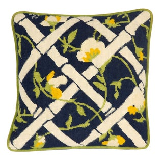 Needlepoint Trellis Throw Pillow