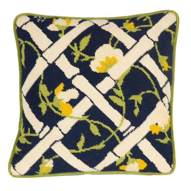 Needlepoint Trellis Throw Pillow - Image 1 of 4