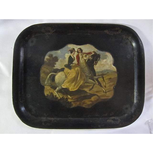 Antique Tole Painted Tray Equestrian Scene - Image 6 of 6