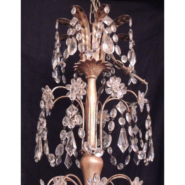 20th C French Grand Bagues Tole and Crystal Chandelier For Sale - Image 4 of 10