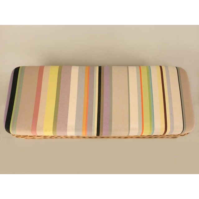 "Vintage Italian Les Toiles Du Soleil Upholstered ""Wicker Works"" Bench - Image 8 of 11"