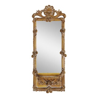 Hollywood Glam 1940s Italian Ornate Scrolled Mirror w/Shelf For Sale