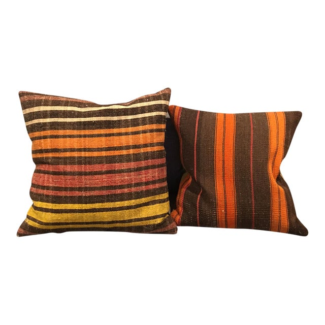 Turkish Kilim Pillow Covers - A Pair - Image 1 of 5