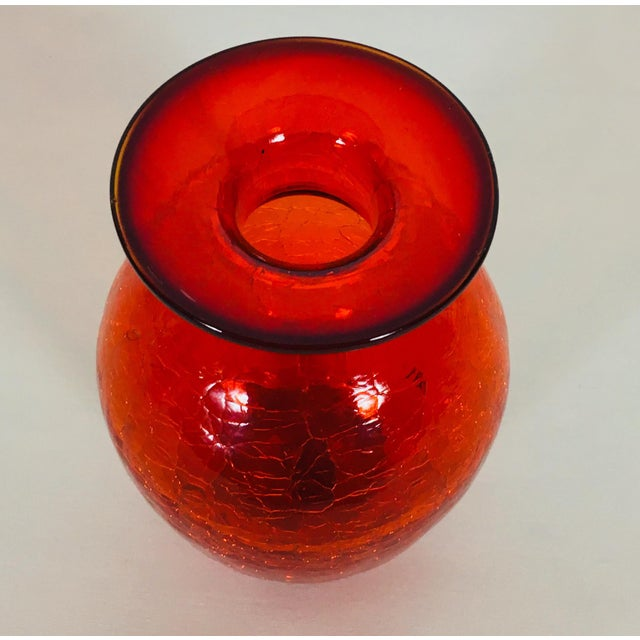 Mid-Century Modern Blenko 1971 Brilliant Red Glass Vessel For Sale - Image 3 of 9