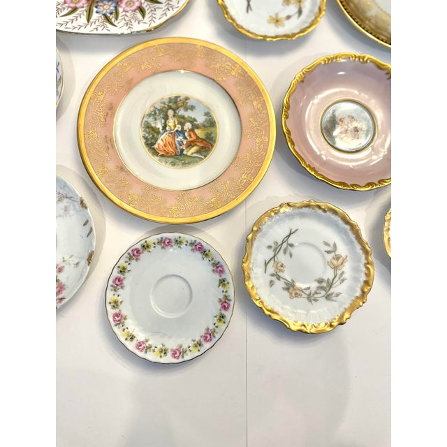 Vintage Pink and Gold Mixed Decorative Plates- a Set 12 For Sale - Image 10 of 13
