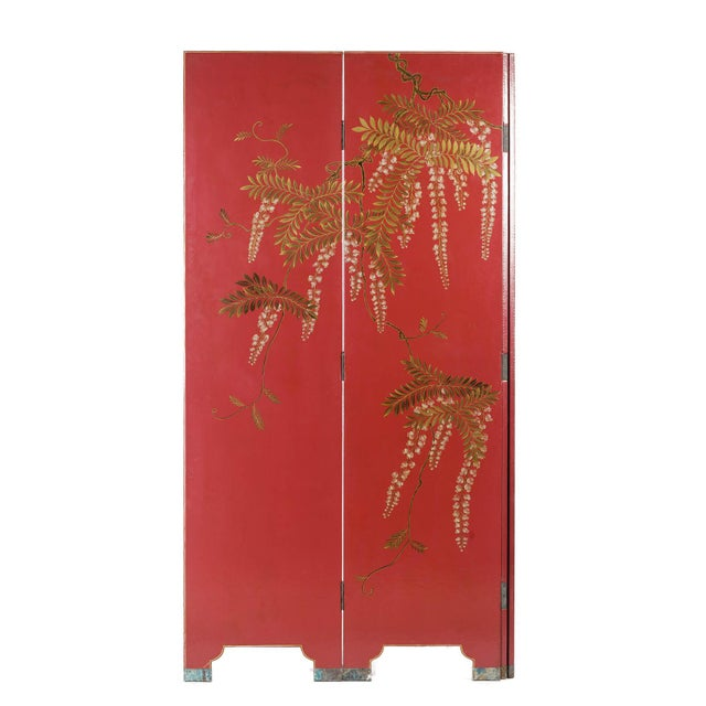 Double-Sided Leather Burgundy Red Wisteria Scene Room Divider Screen by Lawrence & Scott For Sale - Image 9 of 13