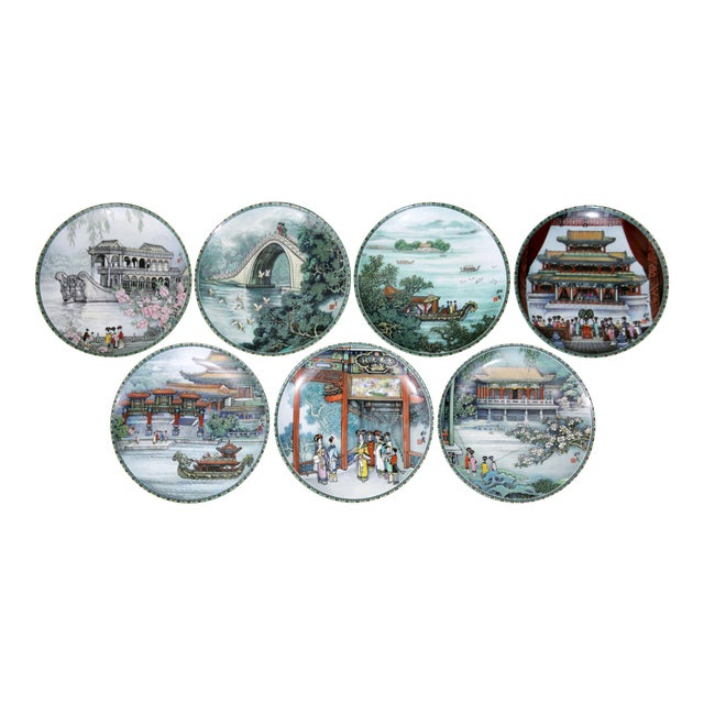 """""""Scenes From the Summer Palace"""" Imperial Jingdezhen Porcelain Collector Plates - Set of 7 For Sale"""