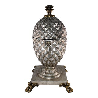 Maitland Smith Silver Gilt Table Top Pineapple Trinket Box For Sale