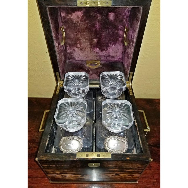 19c Irish Coromandel Wood Campaign Decanter Box With Irish Crystal Decanters For Sale In Dallas - Image 6 of 12