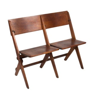 Late 19th Century Vintage French Double Folding Chair For Sale