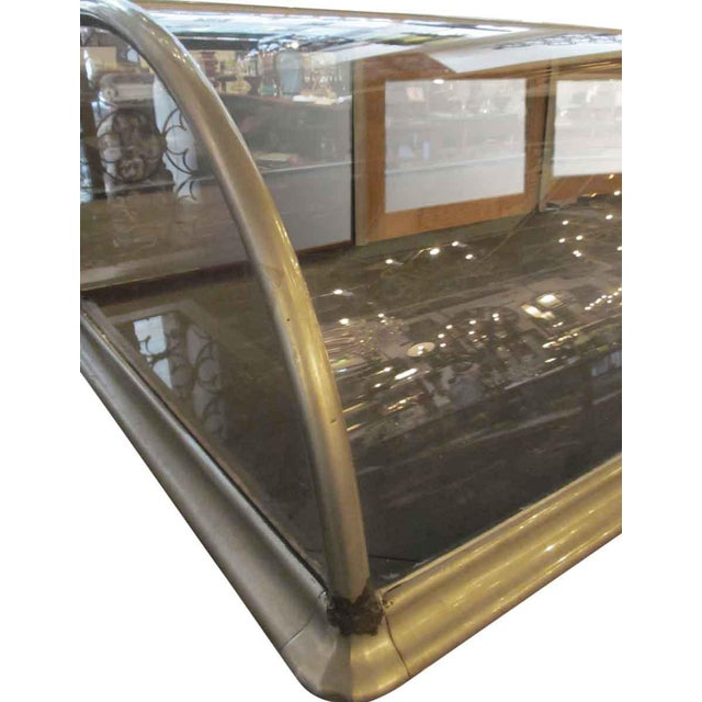 Antique Nickel & Glass Curved Front Display Case For Sale - Image 5 of 6