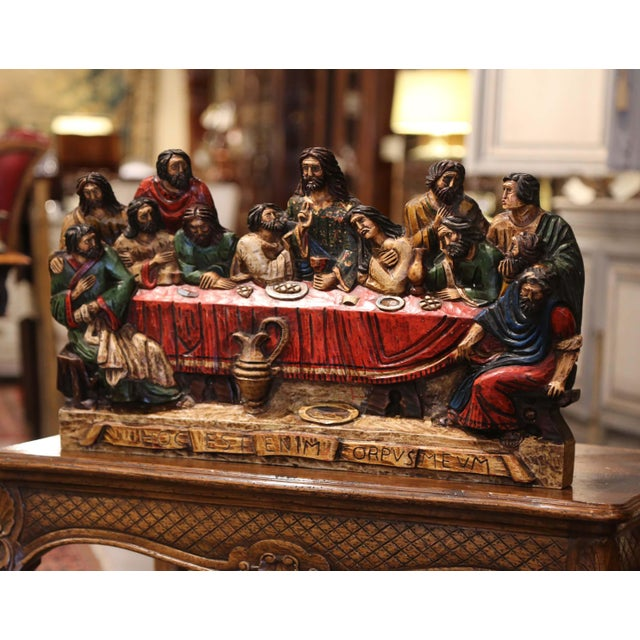 """Wood Mid-20th Century Spanish Carved Polychromed and Gilt """"Last Supper"""" Sculpture For Sale - Image 7 of 10"""