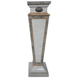 Circa 1970 Tessellated Travertine & Marble Geometric Pedestal