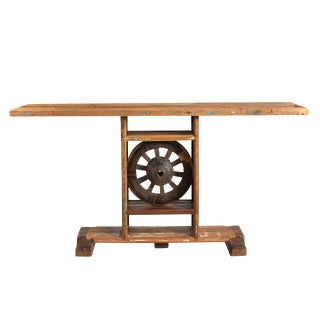 Wooden Wheel Console Table