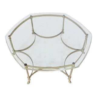 Six Legged Hoof Feet Solid Brass Round Hexagon Glass Top Coffee Table For Sale